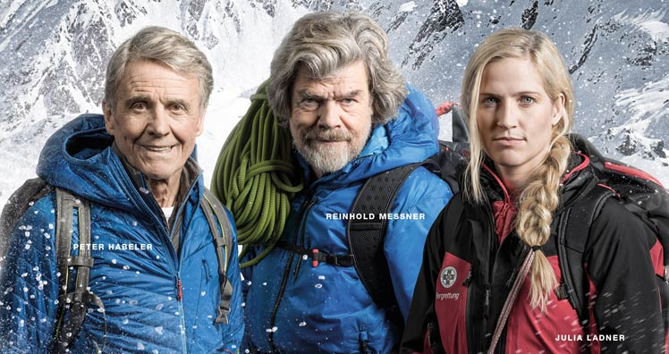 Peter Habeler, Reinhold Messner und Julia Ladner © Servus TV/Christian Leopold/Getty Images