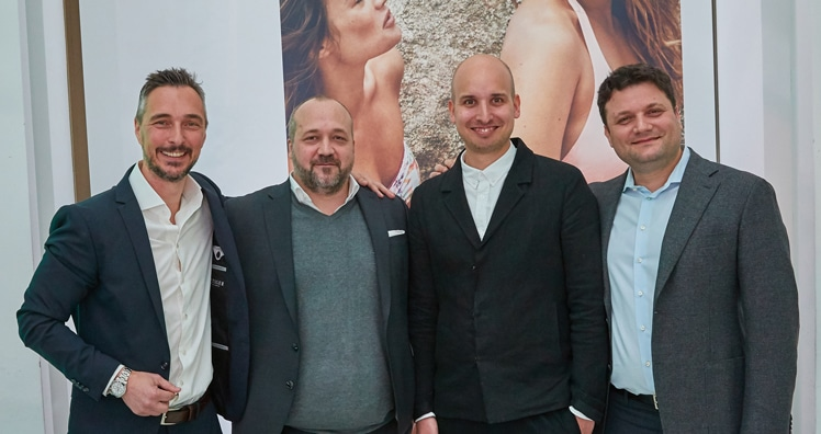 Christian Baier (Head of Marketing, Palmers), Tino Wieser (Vorstand Palmers), Daniel Kleinmann (Executive Creative Director Palmers), Matvei Hutman (Vorstand Palmers) © Palmers / Alexander Tuma